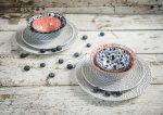 Red & blue 8 részes modern design porcelán étkészlet 2 személyre