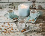 Happy family coffee 6 részes modern design porcelán reggeliző étkészlet 3 személyre