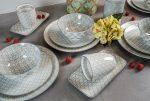 50 shades of grey 20 részes modern design porcelán étkészlet 4 személyre